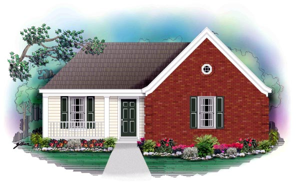 Narrow Lot, One-Story, Traditional House Plan 46373 with 3 Beds, 2 Baths Elevation