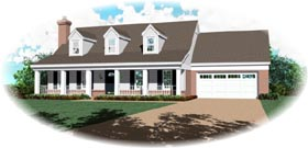 Southern House Plan 46377 with 3 Beds, 3 Baths, 2 Car Garage Elevation