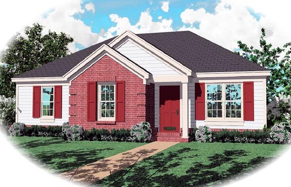 Narrow Lot One-Story Ranch Elevation of Plan 46379