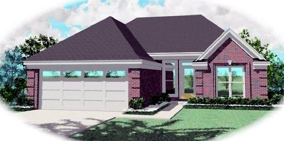 Ranch House Plan 46383 with 3 Beds, 2 Baths, 2 Car Garage Elevation