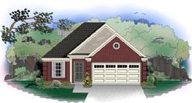 European House Plan 46406 with 3 Beds, 2 Baths, 2 Car Garage Elevation