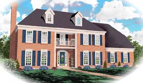 House Plan 46421 | Traditional Style Plan with 2404 Sq Ft, 3 Bedrooms, 3 Bathrooms, 2 Car Garage Elevation