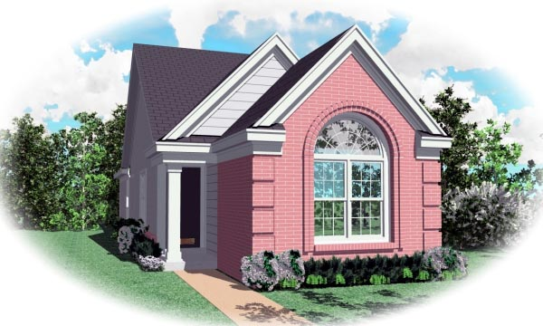 European, Narrow Lot, One-Story House Plan 46431 with 3 Beds, 2 Baths Elevation