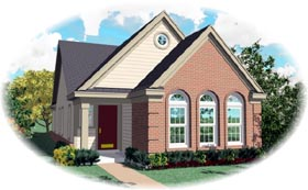 House Plan 46435 | European Style Plan with 1336 Sq Ft, 3 Bedrooms, 2 Bathrooms Elevation