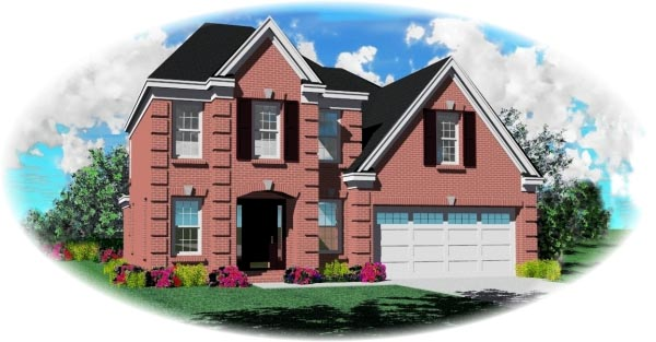 European, Narrow Lot House Plan 46436 with 3 Beds , 3 Baths , 2 Car Garage Elevation