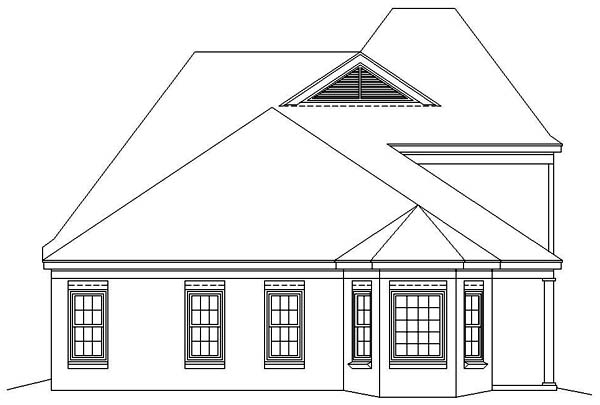 European House Plan 46436 Rear Elevation