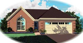Ranch House Plan 46453 with 3 Beds, 2 Baths, 2 Car Garage Elevation