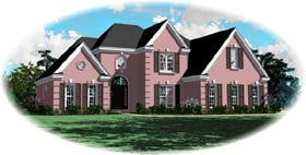 European House Plan 46457 with 3 Beds, 3 Baths, 2 Car Garage Elevation