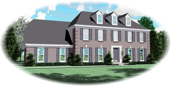 Colonial House Plan 46464 with 4 Beds, 3 Baths, 2 Car Garage Elevation