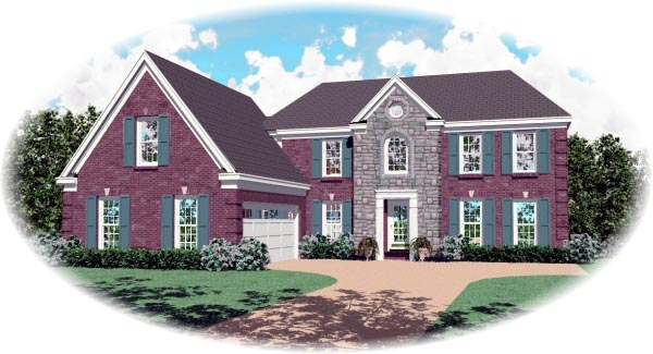 Colonial House Plan 46465 with 4 Beds, 4 Baths, 2 Car Garage Elevation