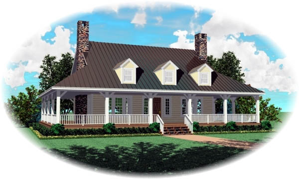 Country, House Plan 46477 with 3 Beds, 3 Baths Elevation
