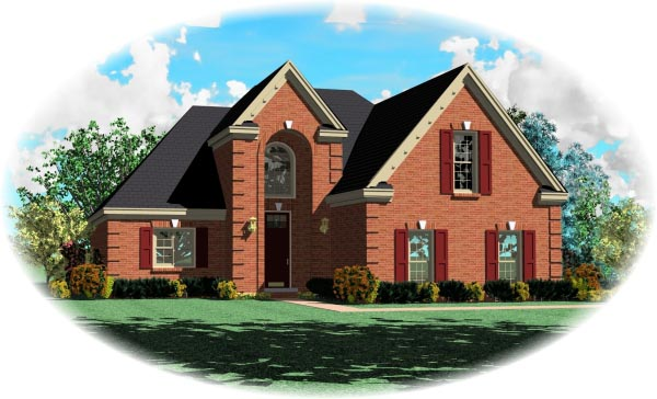 European House Plan 46485 with 3 Beds, 3 Baths, 2 Car Garage Elevation