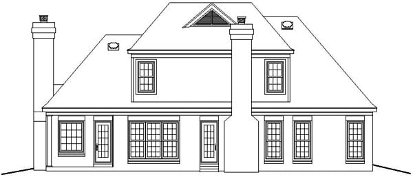 European House Plan 46485 Rear Elevation