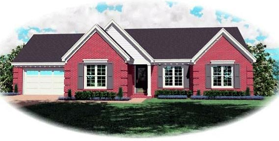 Ranch House Plan 46487 with 3 Beds, 2 Baths, 2 Car Garage Elevation