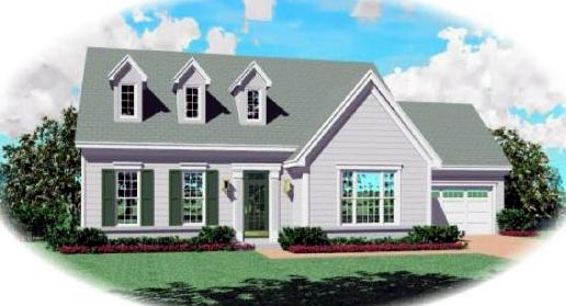 Cape Cod House Plan 46488 with 3 Beds, 3 Baths, 2 Car Garage Elevation