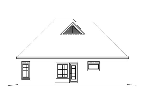 European House Plan 46509 Rear Elevation