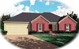 House Plan 46517   Southern Style Plan with 1545 Sq Ft, 3 Bedrooms, 2 Bathrooms, 2 Car Garage Elevation