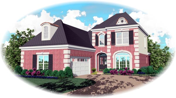 European House Plan 46531 with 3 Beds, 3 Baths, 2 Car Garage Elevation