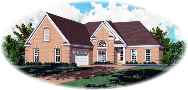 Traditional House Plan 46548 with 3 Beds, 2 Baths, 2 Car Garage Elevation