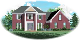 House Plan 46553   Colonial Style Plan with 2316 Sq Ft, 4 Bedrooms, 3 Bathrooms, 2 Car Garage Elevation