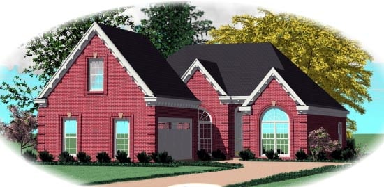 European, Narrow Lot House Plan 46561 with 2 Beds, 2 Baths, 2 Car Garage Front Elevation