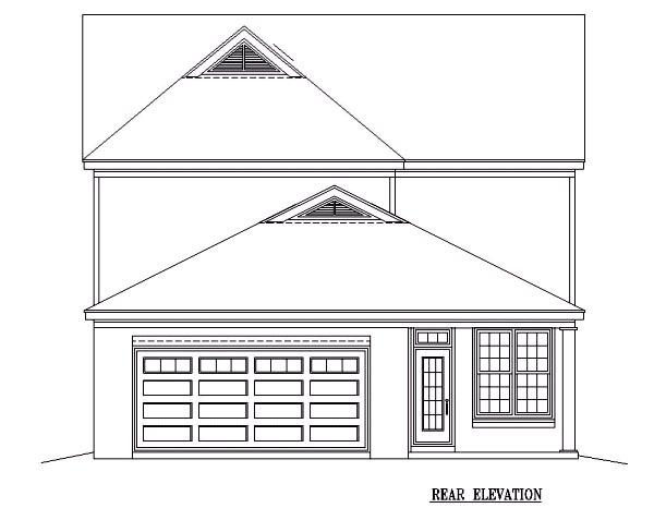European House Plan 46584 Rear Elevation
