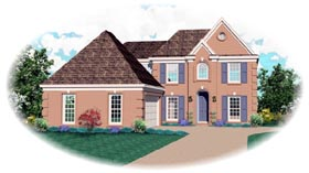 House Plan 46586 | European Style Plan with 2472 Sq Ft, 4 Bedrooms, 3 Bathrooms, 2 Car Garage Elevation