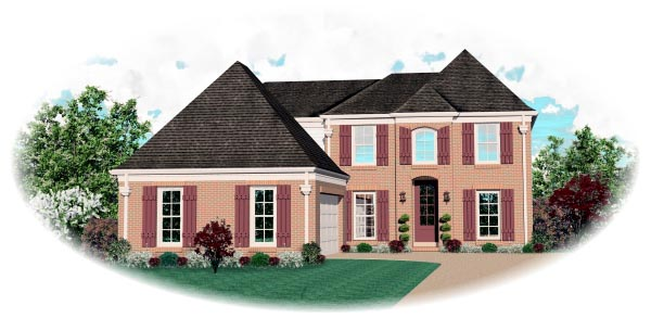 European House Plan 46587 with 4 Beds, 3 Baths, 2 Car Garage Elevation