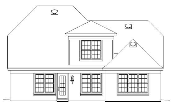 European House Plan 46589 Rear Elevation