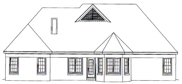 European House Plan 46591 Rear Elevation