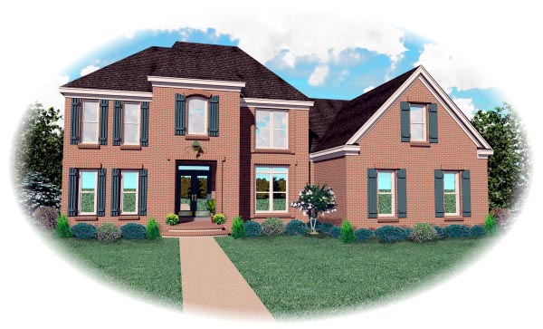 European House Plan 46596 with 4 Beds, 3 Baths, 2 Car Garage Elevation