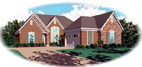 House Plan 46601 | European Style House Plan with 1752 Sq Ft, 3 Bed, 2 Bath, 2 Car Garage Elevation