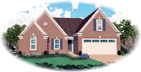 House Plan 46608 | Traditional Style Plan with 1716 Sq Ft, 3 Bedrooms, 2 Bathrooms, 2 Car Garage Elevation