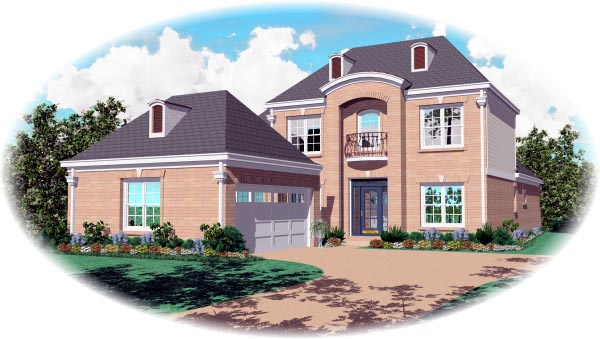 European House Plan 46616 with 4 Beds, 3 Baths, 2 Car Garage Elevation