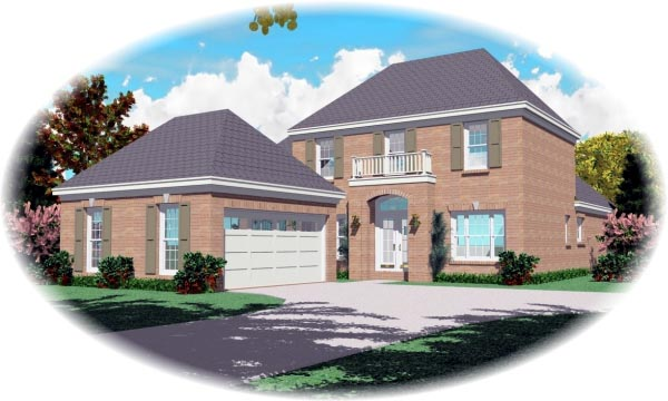 European, Narrow Lot House Plan 46617 with 3 Beds, 3 Baths, 2 Car Garage Elevation