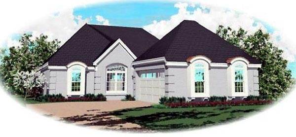 One-Story, Traditional House Plan 46624 with 3 Beds, 2 Baths, 2 Car Garage Elevation