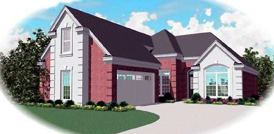 Narrow Lot , One-Story , Traditional , Elevation of Plan 46626