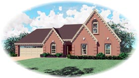 Traditional House Plan 46631 with 3 Beds, 2 Baths, 2 Car Garage Elevation