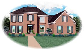 Traditional House Plan 46653 with 4 Beds, 4 Baths, 2 Car Garage Elevation