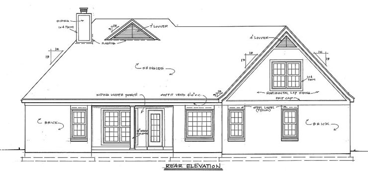 House Plan 46654 Rear Elevation
