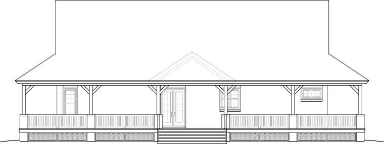 Country Rear Elevation of Plan 46666