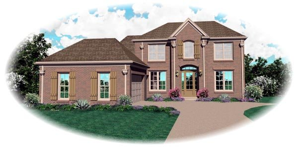 Colonial House Plan 46672 with 3 Beds, 3 Baths, 2 Car Garage Elevation