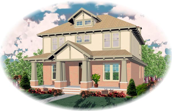 House Plan 46690 | Bungalow Style Plan with 2566 Sq Ft, 3 Bedrooms, 3 Bathrooms, 2 Car Garage Elevation