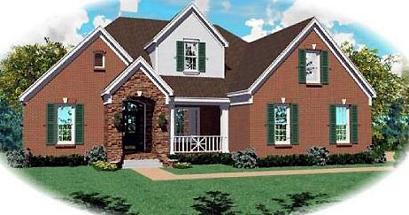 European House Plan 46706 Elevation