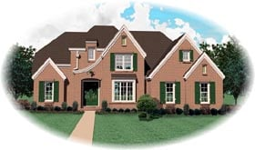 Tudor House Plan 46707 with 4 Beds, 3 Baths, 2 Car Garage Elevation