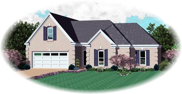 House Plan 46710 with 3 Beds, 2 Baths, 2 Car Garage Elevation