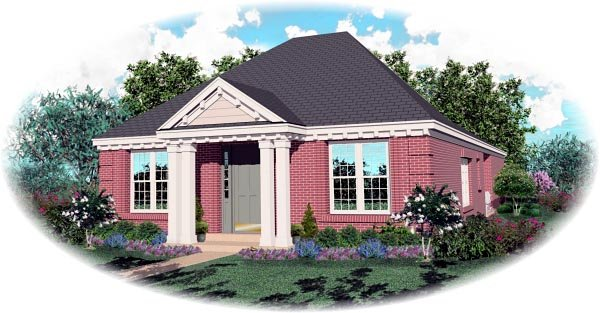 Colonial Narrow Lot One-Story Elevation of Plan 46717