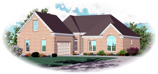 One-Story, Traditional House Plan 46747 with 3 Beds, 2 Baths, 2 Car Garage Elevation