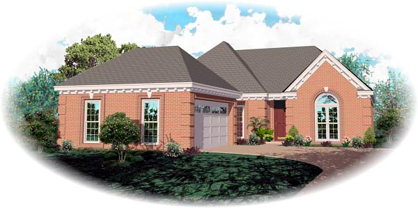 One-Story, Traditional House Plan 46748 with 3 Beds, 2 Baths, 2 Car Garage Elevation