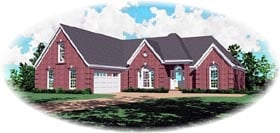 European House Plan 46787 with 3 Beds, 2 Baths, 2 Car Garage Elevation